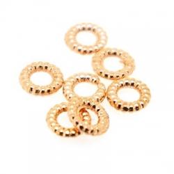 Metaal, spacer, groot rijggat (ca 3 mm), rosé goud, 2 x 8 mm (15 st.)