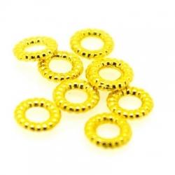 Metaal, spacer, groot rijggat (ca 3 mm), goud, 2 x 8 mm (15 st.)