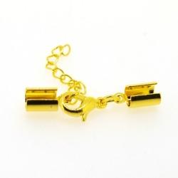 Veterklem met verlengketting en slotje goud 4 x 8 mm (5 st.)