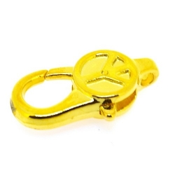 Metaal, musketonhaak, Peace teken, goud, 28 mm (5 st.)
