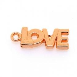 Metaal, bedel, LOVE, roségoud, 21 x 8 mm (5 st.)