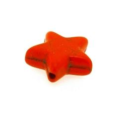 Gekleurd Turquoise kraal, ster, oranje, 16 mm (5 st.)