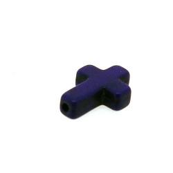 Gekleurd Turquoise kraal, kruis, paars, 16 x 12 mm (5 st.)