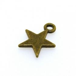 Metaal, bedel, ster, antique goud, 18 mm (5 st.)