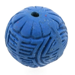 Cinnabar kraal rond blauw ca. 22 mm (3 st.)