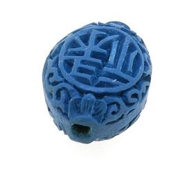 Cinnabar kraal ovaal blauw ca. 20 x 15 mm (5 st.)