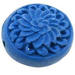 Cinnabar kraal rond plat blauw ca. 20 mm (5 st.)