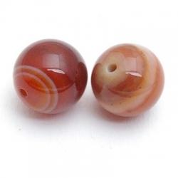 Agaat, kraal, rond, bruin, 12 mm (5 st.)