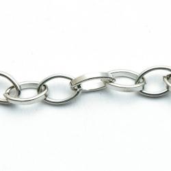 Jasseron ketting, ovaal, zilver, 12 x 8 mm (1 meter)