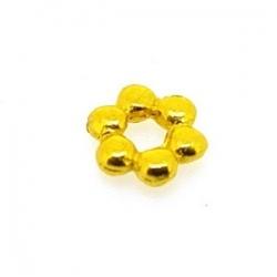 Metaal, spacer, bloem, goud, 6 mm (25 st.)