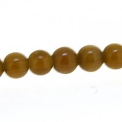 Catseye kraal rond bruin 4 mm (streng)
