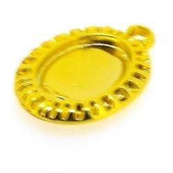 Metaal, hanger voor cabochon/plaksteen, ovaal, goud, 22 x 14 mm (3 st.)