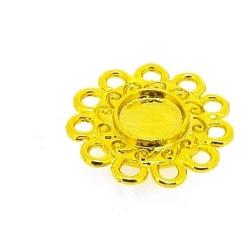 Metaal, hanger voor cabochon/plaksteen, rond, goud, 19 mm (5st.)