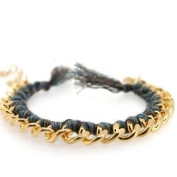 Zelfmaakpakketje trendy geknoopte Ibiza Style armband, bruin gemeleerd, goudkleurige armband (1 st.)