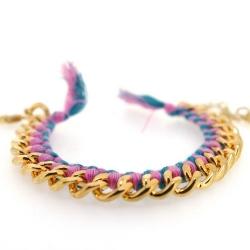 Zelfmaakpakketje trendy geknoopte Ibiza Style armband, roze/turquoise, goudkleurige armband (1 st.)