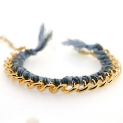 Zelfmaakpakketje trendy geknoopte Ibiza Style armband, lichtgrijs/grijs gemeleerd, goudkleurige armband (1 st.)