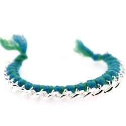 Zelfmaakpakketje trendy geknoopte Ibiza Style armband, turquoise/groen, zilverkleurige armband (1 st.)