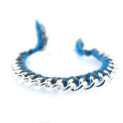 Zelfmaakpakketje trendy geknoopte Ibiza Style armband, blauw/grijs gemeleerd, zilverkleurige armband (1 st.)