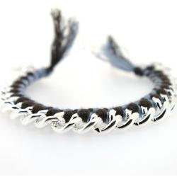Zelfmaakpakketje trendy geknoopte Ibiza Style armband, lichtgrijs/zwart, zilverkleurige armband (1 st.)
