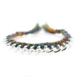 Zelfmaakpakketje trendy geknoopte Ibiza Style armband, kleurig, zilverkleurige armband (1 st.)