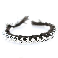 Zelfmaakpakketje trendy geknoopte Ibiza Style armband, bruin, zilverkleurige armband (1 st.)
