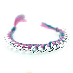 Zelfmaakpakketje trendy geknoopte Ibiza Style armband, roze/turquoise, zilverkleurige armband (1 st.)