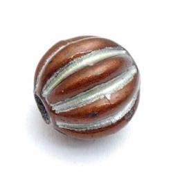 Kunststof kraal rond zilver/bruin 13 mm (5 st.)