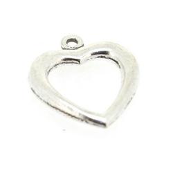 Metaal, bedel, zilver, open hart, 22 mm (3 st.)