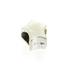 Metaal, leerschuiver, zilver, ster, 10 mm, voor rond leer van max 4,5 mm (3 st.)