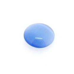Cabochon/plaksteen, glas, catseye, rond, blauw, 12 mm (5 st.)