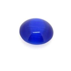 Cabochon/plaksteen, glas, catseye, rond, blauw, 14 mm (5 st.)