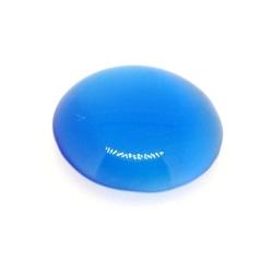 Cabochon/plaksteen, glas, catseye, rond, blauw, 20 mm (3 st.)