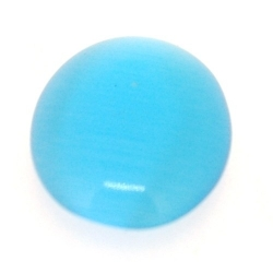 Cabochon/plaksteen, glas, catseye, ovaal, turquoise, 18 x 13 mm (5 st.)