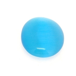 Cabochon/plaksteen, glas, catseye, ovaal, turquoise, 25 x 18 mm (3 st.)
