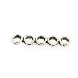 Metaal, verdeler, 5 ringen, zilver, 30 x 6 mm (5 st.)