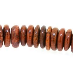 Gekleurd Turquoise, kraal, bruin, schijfje, 4 x 10 mm (streng)