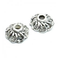 Metaal, kralenkapje, zilver, 4 x 10 mm (10 st.)