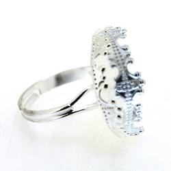Metaal, verstelbare ring voor cabochon/plaksteen van max. 20 mm, zilver (1 st.)