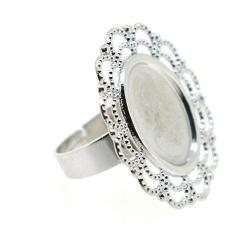 Metaal, verstelbare ring voor ovale cabochon/plaksteen van max. 15 x 12 mm, zilver (1 st.)