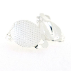 Oorbel (clip) voor ronde plaksteen vanaf 15 mm, zilver (1 set)