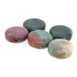 Agaat, kraal, rond, plat, bruin, 12 mm (5 st.)
