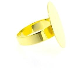Metaal, verstelbare ring voor cabochon/plaksteen vanaf 20 mm, goud (1 st.)