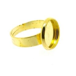 Metaal, verstelbare ring voor cabochon/plaksteen van max. 12 mm, goud (1 st.)