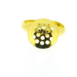 Metaal, verstelbare ring voor o.a. plaksteen/cabochon van ca. 12 mm, goud (1 st.)