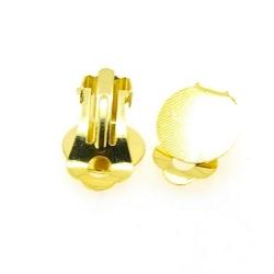 Oorbel (clip) voor ronde plaksteen van ca. 12 mm, goud (1 set)