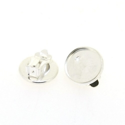 Oorbel (clip) voor ronde plaksteen van ca. 12 mm, zilver (1 set)