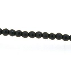 Gekleurd Turquoise kraal, zwart, rond, 4 mm (streng)