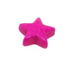 Gekleurd Turquoise kraal, roze, ster, 11 mm (ca 42 st.)