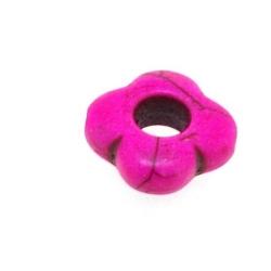 Gekleurd Turquoise kraal, roze, boem, open, 14 mm (ca. 28 st.)