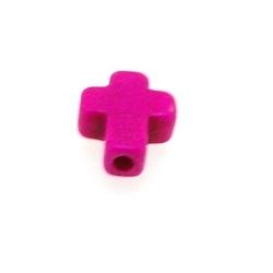 Gekleurd Turquoise kraal, roze, kruis, 10 mm (ca. 40 st.)